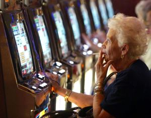 old woman gambling